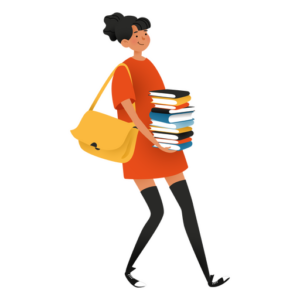 An image of a woman carrying a large stack of books, a yellow bag slung over her shoulder. She is wearing an orange dress and is smiling.